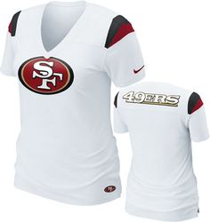 San Francisco Womens White Nike Fashion V-Neck T-Shirt Sf Niners, Forty Niners, Niners Girl, Nike Fashion, Sport Fashion, Teen Fashion, Nike Air Max Sale, Cheap Nike Air Max, Fall Outfits