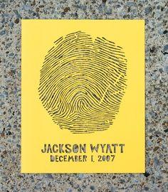 Fingerprint birth announcement. Laser cut. Very cool.