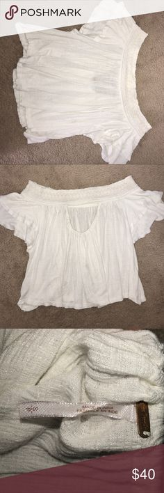 Free People Ivory Off-the Shoulder Top Free People Santorini Top Smocked Cutout Off Shoulder Ivory Blouse Tops Blouses