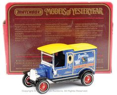 """Matchbox Models of Yesteryear pre-production No.Y12-3 Ford Model T Van """"Rosella"""" - dark blue body, black chassis, yellow roof, chrome parts, black seats, red 12-spoke wheels with white wall tyres, type 2 door decals - very rare, comes with standard type J box."""