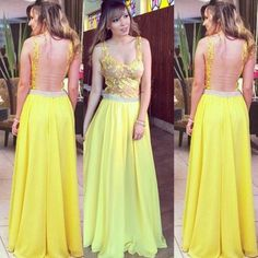 Yellow Chiffon Long A-line Prom Dresses Appliques Evening Dresses Cheap Party Dresses Backless Formal Gowns for Women