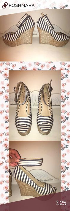 Striped Wedges 2 Lips Too Ankle Wrap Wedges! Features navy blue & cream color stripes & crisscross wicker style wedge. Whether you wear them with a casual pair of distressed jeans or flowy dress you will look very polished💋 Very comfortable to walk in. Excellent condition like new. Size 9. ✨Top Rated Seller✨ Fast Shipper👍🏻  10% off 3+ bundle💖 2 Lips Too Shoes Wedges