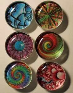 Bright Fractals Glass Gem Super Strong Magnets Set of 6 Recycled Paper Crafts, Upcycled Crafts, Resin Crafts, Diy Crafts, Glass Magnets, Diy Magnets, Marble Magnets, Stone Crafts, Rock Crafts