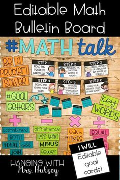 This math themed bulletin board kit comes with editable goal cards, problem solving posters, key word labels, titles, and more! A great way to display math solving strategies all year long! Math Key Words, Math Classroom Decorations, Classroom Ideas, Classroom Board, Future Classroom, School Classroom, Math Bulletin Boards, Math Wall, Math Strategies