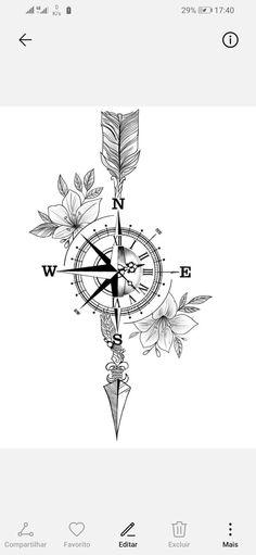 - Piercings compass arrow tattoo, double arrow tattoo, arrow tattoo design f - Compass Tattoos Arm, Mandala Compass Tattoo, Compass Tattoo Design, Arrow Tattoo Design, Tattoo Arrow, Compass Drawing, Nautical Compass Tattoo, Cute Tattoos, Body Art Tattoos