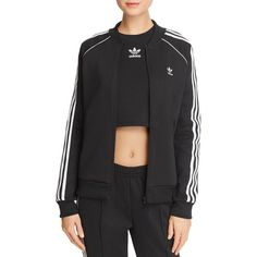 adidas Originals Stripe-Detail Track Jacket (625 NOK) ❤ liked on Polyvore featuring activewear, activewear jackets, black, tracksuit jacket, adidas originals, track top, retro sportswear and warm up jackets