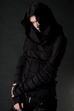 Apocalyptic Shroud Hooded Long Sleeved Mens Shirt by wingsofsin