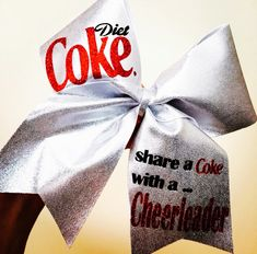 Share A Diet Coke With A Cheerleader Cheer Bow Silver with glitter details