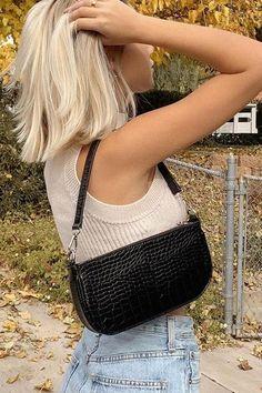 Baguette, Aesthetic Bags, Clothing Staples, Black Shoulder Bag, Shoulder Bags, Streetwear, Mode Outfits, Cloth Bags, Purses And Handbags