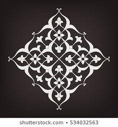 Shutterstock koleksiyonunda bunu ve milyonlarca diğer telifs Stencil Patterns, Stencil Designs, Pattern Art, Pattern Design, Islamic Art Pattern, Arabic Pattern, Motif Vector, Motif Oriental, Turkish Art