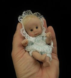 """TAYLOR"" mini 4.75"" polymer clay art baby doll sculpt OOAK by URSULA"