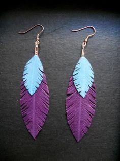 pendientes plumas de cuero pendientes plumas de cuero cuero,enganches alpaca cortado-engarzado a mano