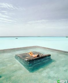 "Like this idea of a cement ""island"" in the middle of the pool."