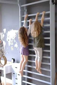 10 Coolest Kids Rooms.  Love the climbing idea. Need to suspend frame w bars instead of each bar might be easier than a rock wall?