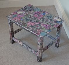 COTTAGE GARDEN Small Table/Stool | Fabric decoupage furniture