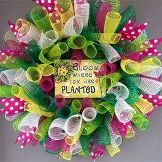 "28"", 'Bloom Where You Are Planted' Spiral Mesh Spring/Summer Wreath in Fuchsia Pink, Lime Green, Tan/White Striped Burlap, Kelly Green & Yellow with Pink & White Polka Dot Ribbon: $65 Made by Red-y Made Wreaths. Like & Follow us on Facebook https://www.facebook.com/pages/Red-y-Made-Wreaths/193750437415618 or Visit us at http://www.redymadewreaths.com/"