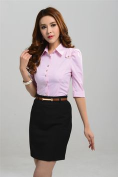 38 Shirt Ideas for Women That Make you Look Charmy Ladies Shirts Formal, Suits For Women, Clothes For Women, Casual Dresses, Fashion Dresses, Look Office, Look Blazer, Classy Women, Office Outfits