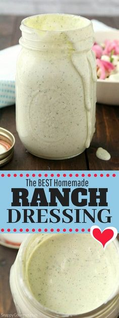 Homemade Ranch Dressing Recipe Homemade Ranch Dressing, how to make ranch dressing from scratch with easy ingredients like buttermilk and fresh herbs and spices. You can easily change it up to make it dairy free and other variations. Restaurant Ranch Dressing, Best Ranch Dressing, Homemade Ranch Dressing, Ranch Salad Dressing, Ranch Dressing Ingredients, Restaurant Ranch Recipe, Healthy Ranch Dressing, Homemade Ranch Dip, Vinaigrette Dressing