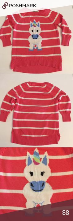 Pink Republic 🦄 unicorn 3/4 sleeve sweater size 4 Great condition, worn only a couple times  3/4 sleeves, hi lo / high low hem, coral-y pink and white striped with white unicorn, girls size 4  All offers welcome! Pink Republic Shirts & Tops Sweaters