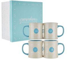 Temp-tations (4) 16 oz. Cozy Cable Knit Mugs w/Gift Box