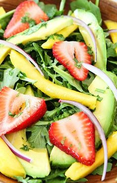 Mango, Strawberry, and Avocado Arugula Salad Recipe