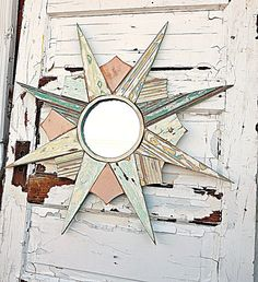 Pastel Starburst Mirror, Reclaimed Wood Mirror, Sun Burst Mirror, Mosaic Starburst, Mint Green Sunburst Mirror, Coastal Decor, Florida Decor on Etsy, $148.00