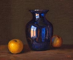"""Daily Paintworks - """"Still Life with Blue Vase and ..."""" by Abbey Ryan"""