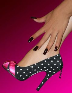 Satin Pump Black with White Polka Dots and Fuchsia bow
