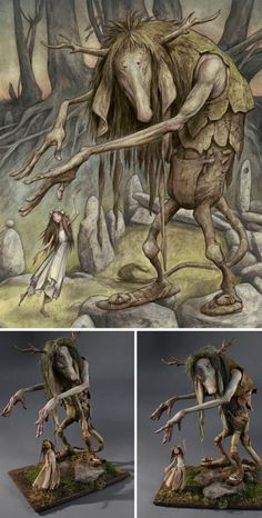 Like father like son. (Also, like mother, like son!) Painting by Brian Froud, Sculpture by Toby Froud. via AFA NYC
