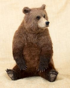 Tobias the Grizzly Bear: Needle felted animal sculpture by Megan Nedds of The Woolen Wagon