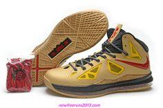 Lebron 10 Lebron James Shoes 2013 Gold Medal Gold Red 541100 001
