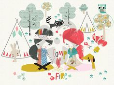 Campfire Friends, Animals Canvas Wall Art | Oopsy daisy