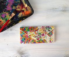 Map of the world womens wallet hand painted with the option for your choice of a new country, state, continent etc. Boho chic splatter map of