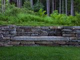 I like the way this stone bench has been built into a retaining wall. - I like the way this stone bench has been built into a retaining wall. Landscape Design, Garden Design, Contemporary Landscape, House Landscape, Landscape Walls, Traditional Landscape, Watercolor Landscape, Landscape Paintings, Stone Retaining Wall