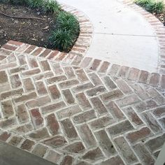 Love how the brick lines the sidewalk to tie it in Brick Porch, Brick Driveway, Brick Pathway, Front Walkway, Driveway Landscaping, Brick Pavers, Front Porch, Arborvitae Landscaping, Stamped Concrete Driveway