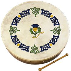 Bodhran (Irish Drum) SMALL - Scottish Thistle Design: This is a small size inch) bodhran perfect size for children. Irish Instruments, Musical Instruments, Irish Drum, Bodhran Drum, Scottish Symbols, Scottish Music, Celtic Music, Scottish Thistle, Irish Traditions