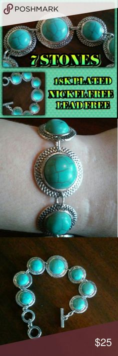 """2 HOUR SALE!!! Stunning turquoise bracelet! 7 beautiful stones in total. 6 smaller and one large. 2 size settings to wear comfortably. Made with 18K plated metals Nickel and lead free!! Measures 8"""" total. 6.5"""" bracelet with 1.5"""" two ring extender. More Jewelry in my closet! Bundle and save! T&J Designs Jewelry Bracelets"""