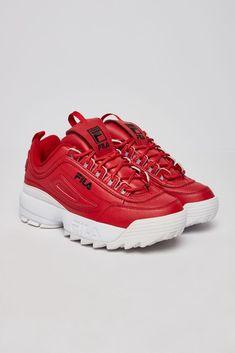 FILA Disruptor II Premium Women's shoes (Red/Wht) Source by women shoes Red Fila Shoes, Red Shoes, Shoes Style, Best Sneakers, Vans Sneakers, Sneakers Women, Sneaker Shop, Clarks, Shoes 2018