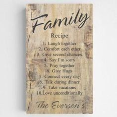 Family Recipe Canvas Rustic Wood