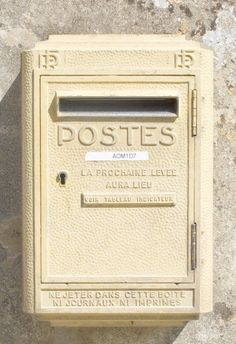 French Yellow Post Office Mail Box - Brittany, France