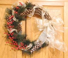 Rustic holiday wreath with pine needles by LilyPadsAndSunshine