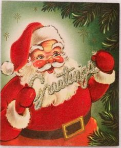 Old World Santa Claus greeting cards | 1180 50s Velvet Santa Claus- Vintage Christmas Greeting Card