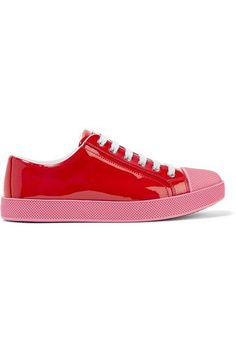 Rubber sole measures approximately 35mm/ 1.5 inches Red patent-leather Lace-up front Made in Italy