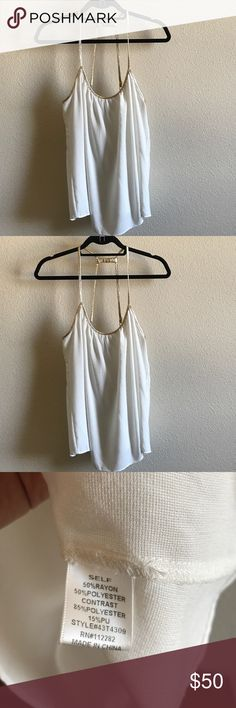 GREYLIN Cheese Cloth Gold Trim T- Back Flowy Tank LOVE THIS! EUC, adjustable straps both ways so you can get creative on the fit. I found LOTS of cute ways to wear it so pls buy it. 20% off 2 ;) Anthropologie Tops Tank Tops