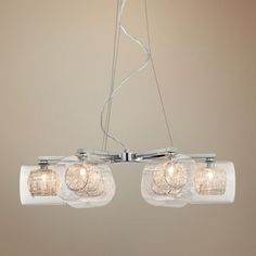 Wire and Glass Cylinder Possini Euro Design Chandelier