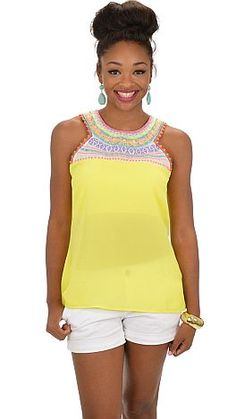 An easy yellow tank with some seriously unique embroidery that will have your jaw on the floor! $58 at shopbluedoor.com