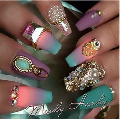 Busy but beautiful colors. Someone clearly put a lot of thought into these nails. Art.