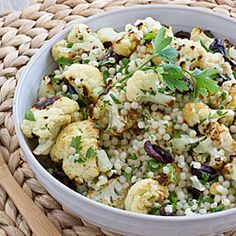 Roasted Cauliflower & Israeli Couscous Salad with kalamata olives ...