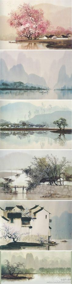 watercolor paintings of China, by professor He Zhen Qiang from school of fine arts, Qi Hua University Más Watercolor Landscape, Landscape Art, Landscape Paintings, Watercolor Art, Chinese Landscape Painting, Watercolour Paintings, Art Aquarelle, Asian Art, Japanese Art
