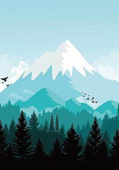 Fir Snow Winter Sky Background - Benson B. Landscape Wallpaper, Scenery Wallpaper, Landscape Art, Wallpaper Backgrounds, Landscape Paintings, Mountain Landscape, Mountain Illustration, Illustration Art, Graphic Design Illustration